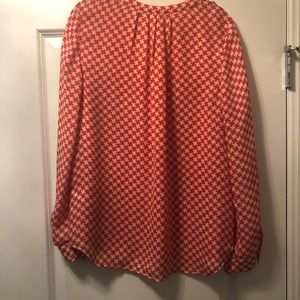 Joie Red Houndstooth Printed Blouse - M